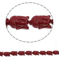 Buddhistische Perlen, Synthetische Koralle, Buddha, buddhistischer Schmuck, dunkelrot, 15x23x9mm, Bohrung:ca. 1mm, Länge:ca. 10 ZollInch, 5SträngeStrang/Tasche, ca. 13PCs/Strang, verkauft von Tasche