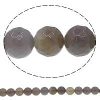 Natürliche graue Achat Perlen, Grauer Achat, rund, verschiedene Größen vorhanden & facettierte, Bohrung:ca. 1mm, Länge:ca. 15 ZollInch, verkauft von Menge
