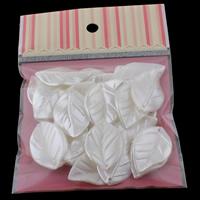ABS-Kunststoff-Perlen Anhänger, Blatt, weiß, 24x37x4mm, 100x170mm, Bohrung:ca. 1mm, 30PCs/Tasche, verkauft von Tasche