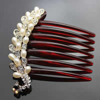 Zinklegierung Dekorative Haarkämme, mit ABS Kunststoff & Acryl, Pfau, goldfarben plattiert, Nachahmung Perle & mit Strass, frei von Nickel, Blei & Kadmium, 84x103mm, 12PCs/Tasche, verkauft von Tasche