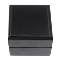 Holz-Ring Box, Holz, mit Baumwollsamt, Quadrat, Spritzlackierung, schwarz, 60x48mm, 5PCs/Tasche, verkauft von Tasche