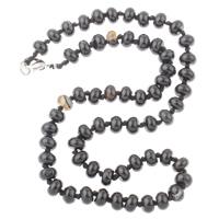 Schwarzer Achat Halskette, mit Nylonschnur, Zinklegierung Karabinerverschluss, Rondell, 8x5mm, verkauft per ca. 18 ZollInch Strang