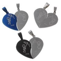 Edelstahl -Paar-Anhänger, Herz, Wort Liebe, plattiert, für paar, keine, 37x34x2mm, Bohrung:ca. 4x8mm, 10PaarePärchen/Tasche, verkauft von Tasche