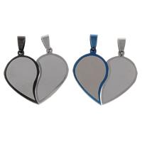 Edelstahl -Paar-Anhänger, Herz, plattiert, für paar, keine, 36x33x2mm, Bohrung:ca. 4x8mm, 10PaarePärchen/Tasche, verkauft von Tasche