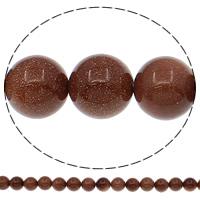 Goldstein Perlen, Goldsand, rund, natürlich, verschiedene Größen vorhanden, Bohrung:ca. 1mm, Länge:ca. 15 ZollInch, verkauft von Tasche