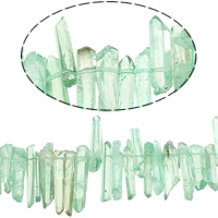 Natürliche gefärbten Quarz Perlen, Klarer Quarz, Klumpen, Türkisblau, 3-7x11-35x4.5-6mm, Bohrung:ca. 1mm, ca. 85PCs/Strang, verkauft per ca. 16 ZollInch Strang