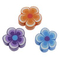 Polymer Ton Perlen , Blume, handgemacht, gemischte Farben, 15x15x5mm, Bohrung:ca. 1.5mm, 100PCs/Tasche, verkauft von Tasche