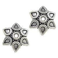 Zinklegierung Perlenkappe, Blume, antik silberfarben plattiert, frei von Nickel, Blei & Kadmium, 10x10x3mm, Bohrung:ca. 1mm, 1000PCs/Menge, verkauft von Menge