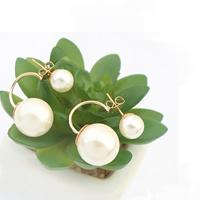 Doppelseitigen Ohrstecker, ABS-Kunststoff-Perlen, Edelstahl Stecker, rund, weiß, 25mm, verkauft von Paar