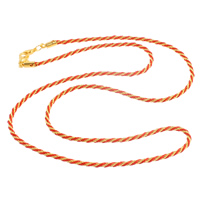 Kette Woven Halskette, Eisen, mit Nylonschnur, Zinklegierung Karabinerverschluss, goldfarben plattiert, frei von Nickel, Blei & Kadmium, 2mm, Länge:ca. 24 ZollInch, 10SträngeStrang/Tasche, verkauft von Tasche