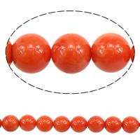 Natürliche Korallen Perlen, rund, rote Orange, 9-9.5mm, Bohrung:ca. 0.5mm, ca. 46PCs/Strang, verkauft per ca. 16 ZollInch Strang