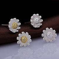 925 Sterling Silber Ohrstecker, Blume, keine, 9x9mm, 5PaarePärchen/Menge, verkauft von Menge