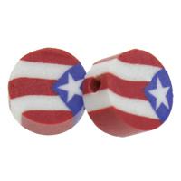 Polymer Ton Perlen , flache Runde, handgemacht, farbenfroh, 10x5mm, Bohrung:ca. 1.5mm, 500PCs/Tasche, verkauft von Tasche