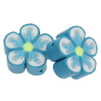 Polymer Ton Perlen , Blume, handgemacht, blau, 10x5mm, Bohrung:ca. 1.5mm, 500PCs/Tasche, verkauft von Tasche
