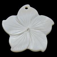Natürliche weiße Muschel Anhänger, Blume, mit Strass, 37x36x4mm, Bohrung:ca. 2mm, 30PCs/Tasche, verkauft von Tasche