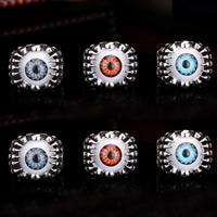 Evil Eye Schmuck Fingerring, Titanstahl, mit Harz, blöser Blick, verschiedene Größen vorhanden, gemischte Farben, 3-10mm, 3PCs/Tasche, verkauft von Tasche