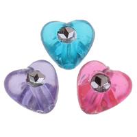 Silberdruck Acrylperlen, Acryl, Herz, transparent, gemischte Farben, 8x8x5mm, Bohrung:ca. 1mm, ca. 3400PCs/Tasche, verkauft von Tasche