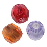 Transparente Acryl-Perlen, Acryl, Trommel, Silber Innen, facettierte, gemischte Farben, 8x8mm, Bohrung:ca. 3mm, ca. 2700PCs/Tasche, verkauft von Tasche