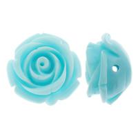 Harz Schmuckperlen, Blume, Volltonfarbe, himmelblau, 21x13mm, Bohrung:ca. 2mm, 200PCs/Tasche, verkauft von Tasche