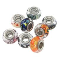 Kunststoff European Perlen, Rondell, Platinfarbe platiniert, verschiedene Muster für Wahl & -Zink-Legierung Doppel-Kern ohne troll, 8.50x13.50mm, Bohrung:ca. 5mm, 100PCs/Menge, verkauft von Menge