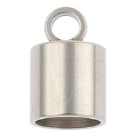 Edelstahl Endkappe, Zylinder, originale Farbe, 7x11mm, Bohrung:ca. 2mm, 5.5-6mm, 100PCs/Tasche, verkauft von Tasche