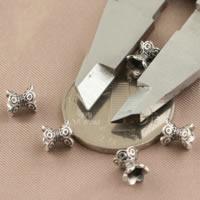 Bali Sterling Silber Perlenkappen, Thailand, Blume, doppelseitig, 6x6.20mm, Bohrung:ca. 1.7mm, 100PCs/Menge, verkauft von Menge