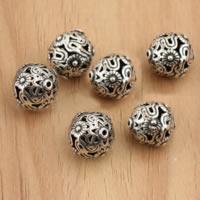Bali Sterling Silber Perlen, Thailand, rund, hohl, 10mm, Bohrung:ca. 1mm, 30PCs/Menge, verkauft von Menge