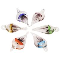Mode Lampwork Anhänger, Tropfen, handgemacht, gemischte Farben, 32x52x11mm, Bohrung:ca. 6-7mm, 12PCs/Tasche, verkauft von Tasche