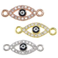 Evil Eye -Anschluss, Messing, blöser Blick, plattiert, Micro pave Zirkonia & Emaille & 1/1-Schleife, keine, frei von Nickel, Blei & Kadmium, 16x6x2mm, Bohrung:ca. 1mm, 10PCs/Menge, verkauft von Menge