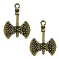 Zinklegierung Werkzeug Anhänger, Axt, antike Bronzefarbe plattiert, frei von Nickel, Blei & Kadmium, 16x22x2mm, Bohrung:ca. 2mm, 500PCs/Menge, verkauft von Menge