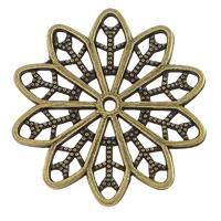 Blume Zinklegierung Schmuckverbinder, antike Bronzefarbe plattiert, Multi-Schleifen & hohl, frei von Nickel, Blei & Kadmium, 25x25x1mm, Bohrung:ca. 1.5mm, 300PCs/Menge, verkauft von Menge
