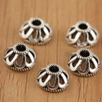 Bali Sterling Silber Perlenkappen, Thailand, Blume, hohl, 7.60x4mm, Bohrung:ca. 2.1mm, 70PCs/Menge, verkauft von Menge