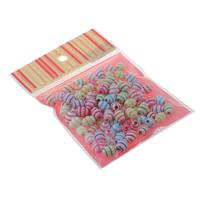 Chemische Wash Acryl Perlen, mit OPP, oval, chemische-Waschanlagen, gemischte Farben, 9x12mm, 100x170mm, Bohrung:ca. 1.5mm, ca. 80PCs/Tasche, verkauft von Tasche