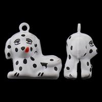 Messing Glocke Anhänger, Hund, Spritzlackierung, frei von Nickel, Blei & Kadmium, 23x23x13mm, Bohrung:ca. 1.5mm, 50PCs/Tasche, verkauft von Tasche