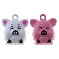 Messing Glocke Anhänger, Schwein, Spritzlackierung, keine, frei von Nickel, Blei & Kadmium, 18x21x16mm, Bohrung:ca. 1.5mm, 50PCs/Tasche, verkauft von Tasche