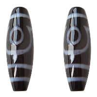 Natürliche Tibetan Achat Dzi Perlen, oval, zwei Augen & zweifarbig, Grad AAA, 12x38mm, Bohrung:ca. 2mm, verkauft von PC