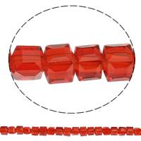 Kubische Kristallperlen, Kristall, Würfel, facettierte, mehrere Farben vorhanden, 4x4x4mm, Bohrung:ca. 1mm, Länge:ca. 16.3 ZollInch, 5SträngeStrang/Tasche, ca. 101PCs/Strang, verkauft von Tasche