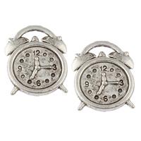Zinklegierung Uhr Anhänger, Wecker, antik silberfarben plattiert, frei von Nickel, Blei & Kadmium, 14x18x2mm, Bohrung:ca. 4x1mm, ca. 877PCs/kg, verkauft von kg