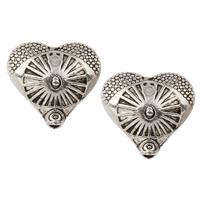 Zinklegierung Herz Perlen, antik silberfarben plattiert, frei von Nickel, Blei & Kadmium, 13x12x6mm, Bohrung:ca. 1mm, ca. 549PCs/kg, verkauft von kg