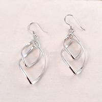 925 Sterling Silber Drop & amp; Ohrringe baumeln, Tropfen, plattiert, 14x30mm, verkauft von Paar