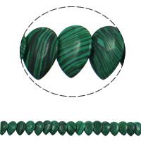 Malachit Perle, Tropfen, synthetisch, 22x31x5mm, Bohrung:ca. 1mm, ca. 23PCs/Strang, verkauft per ca. 15.5 ZollInch Strang