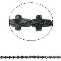 Schneeflocke Obsidian, Kreuz, natürlich, 12x16x5mm, Bohrung:ca. 1mm, ca. 25PCs/Strang, verkauft per ca. 16.5 ZollInch Strang
