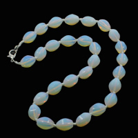 Meer Opal Halskette, Zinklegierung Karabinerverschluss, oval, 10x15mm, verkauft per ca. 19.5 ZollInch Strang