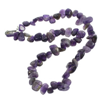 Amethyst Halskette, Zinklegierung Karabinerverschluss, Klumpen, natürlich, Februar Birthstone, 9-20mm, verkauft per ca. 17 ZollInch Strang