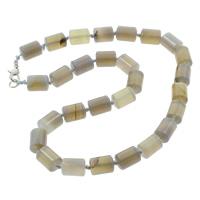 Grauer Achat Halskette, Zinklegierung Karabinerverschluss, Zylinder, natürlich, 10x14mm, verkauft per ca. 15.5 ZollInch Strang