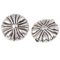 Zinklegierung flache Perlen, flache Runde, antik silberfarben plattiert, frei von Nickel, Blei & Kadmium, 10x4mm, Bohrung:ca. 1mm, ca. 1000PCs/kg, verkauft von kg