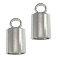 Edelstahl Endkappe, originale Farbe, 6x11.5mm, Bohrung:ca. 2mm, Innendurchmesser:ca. 5mm, 100PCs/Menge, verkauft von Menge