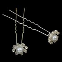 Haarnadeln, Zinklegierung, mit ABS-Kunststoff-Perlen & Eisenstift, Blume, silberfarben plattiert, mit Strass, frei von Nickel, Blei & Kadmium, 17x73x11mm, 10Taschen/Menge, 12PCs/Tasche, verkauft von Menge
