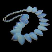 Meer Opal Halskette, Zinklegierung Karabinerverschluss, Tropfen, 6mm, 20x30x6mm, verkauft per ca. 18.5 ZollInch Strang