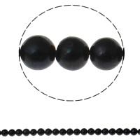 Runde Süßwasser Zuchtperlen, Natürliche kultivierte Süßwasserperlen, natürlich, schwarz, Grade A, 9-10mm, Bohrung:ca. 0.8mm, verkauft per ca. 14.5 ZollInch Strang